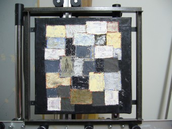 Color Field Patchwork in white, gray and black ± 50 x 50 cm