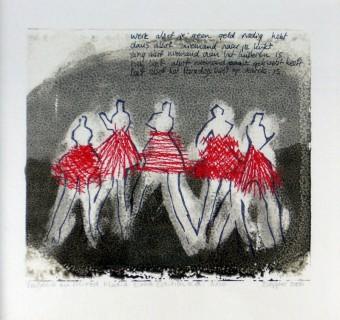 Graphic art: Dancers, 28 x 28 cm