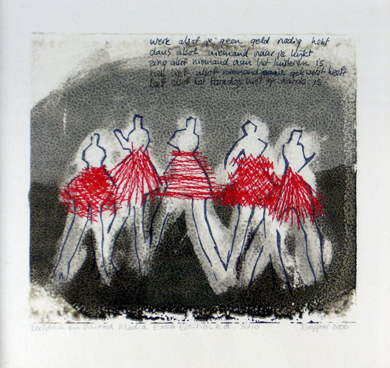 Graphic art: Dancers, 28 x 28 cm