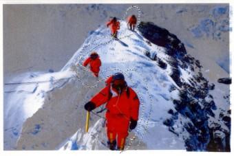 Photo collage, mixed media: Mountain hiking 2
