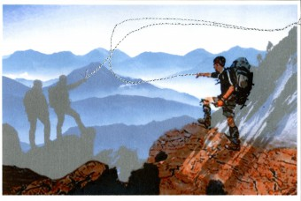 Photo collage, mixed media: Mountain Hiking