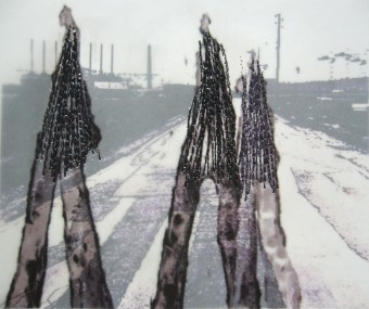Photo collage, mixed media: Urban Zone, 21 x 14 cm