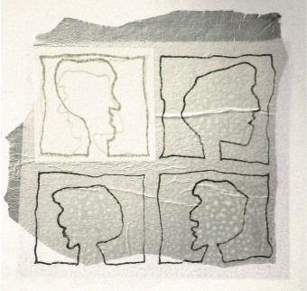 Monoprint collage drawing 4 profiles silver, 26 x 26 cm