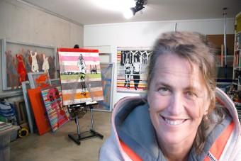 Contemporary painter Hester van Dapperen in studio Amsterdam, The Netherlands