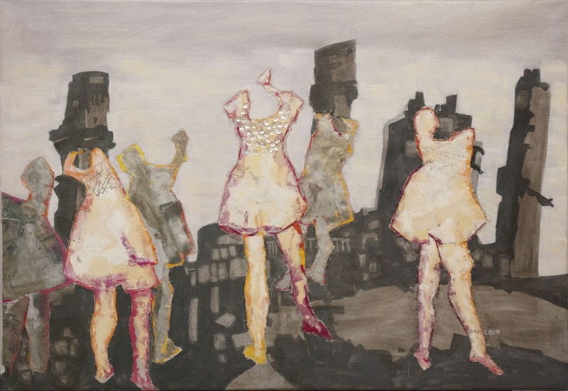 painting with embroidery an collage of dancing girls in polluted air of factory's