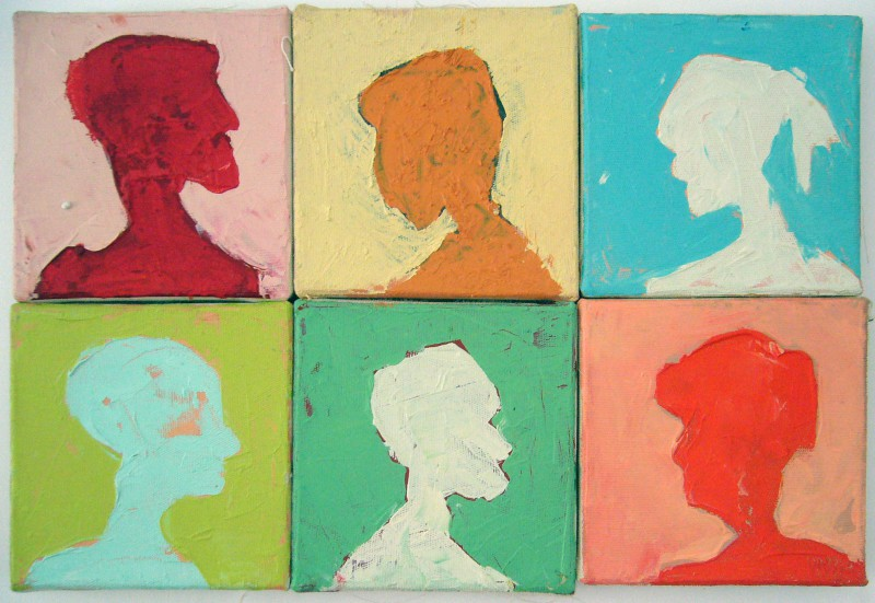 6-luik, 60 x 20 cm. Profiel schilderij van beeldend kunstenaar Hester van Dapperen. Zes smalle profielen op een panel. Olie en pigmenten op linnen, 60 x 40 cm In prive collectie HongKong