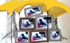 schtes met tent en tv beeld