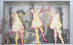 transparent painting of dancing girls in polluted air of factory's by contemporary artist Hester van Dapperen