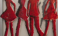 Transparent painting: Four dancers in red, 100 x 105 cm