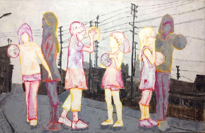 oil painting, childeren, los angeles, street, ball