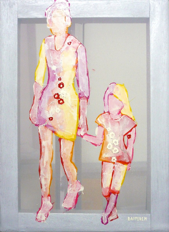 Transparent painting Mother and child