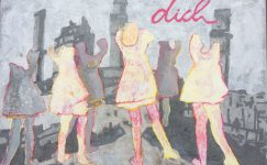 Study for painting with embroidery an collage of dancing girls in the polluted air of factory's
