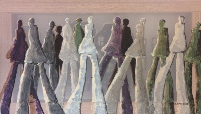 transparent painting, 'transparent house', people, figures, walking, houses