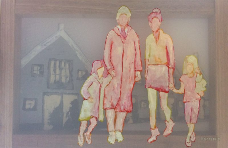 Transparent painting, family, father, mother, childeren, walking, Dutch houses