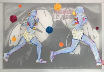 Transparent painting with embroidery and mother of pearl buttons, of two female marathon runners