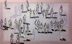 Transparent painting of people walking at the square by contemporary artist Hester van Dapperen