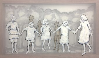 Painting of dancing girls, forest trees are visible. The painting is made on a double layered transparent surface, on a frame of certified hardwood. Used colours are black white and grey.