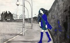painting, contemporary artist, wall, blue, black and white, walking woman, child,Street, Berin