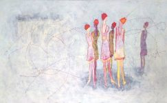 painting, contemporary art, artist, embroidery, amsterdam, urban, vibrant, white, color, woman, ballet