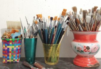 brushes, colorfull, potts, studio, atelier,