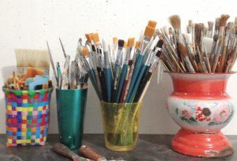 brushes, colorfull, potts, studio, atelier,
