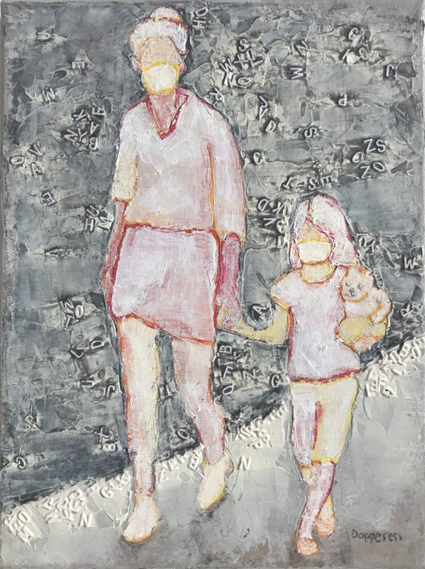 picture of painting with walking woman and child with mouth masks